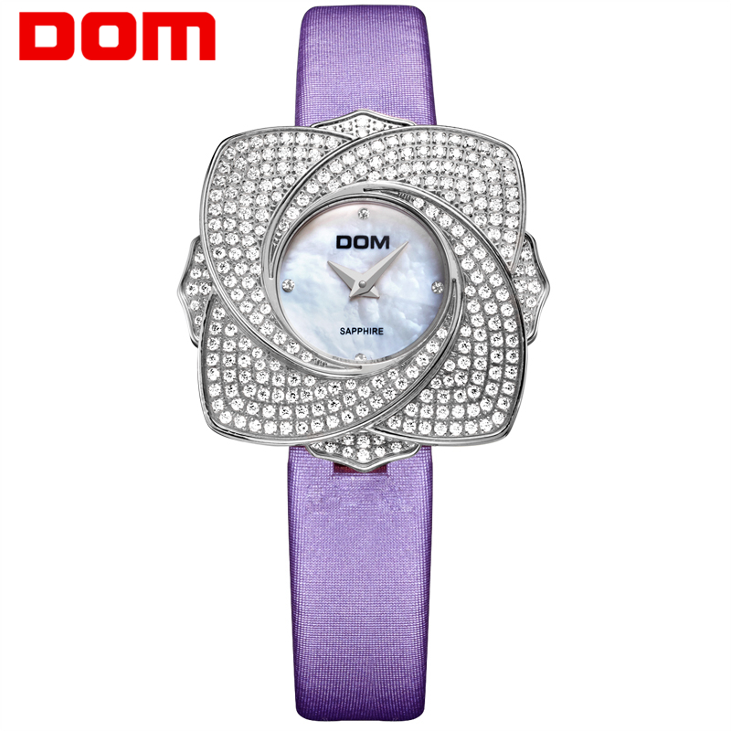 DOM Rose fleur montre de luxe marque diamant montres élégantes femmes étanche en cuir Quartz montre-bracelet pour les femmes offre spéciale G-637