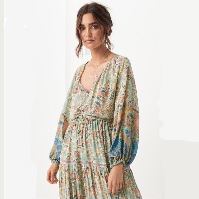 20a7001c6 Boho Maxi Floral estampado elástico cintura Faldas Mujer Casual falda  Bohemia gitana Falda larga verano playa femenina
