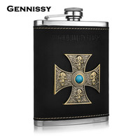 GENNISSY Germany 304 Stainless Steel Hip Flasks Portable 8oz Skull Deign High Quality Mini Outdoors Alcohol