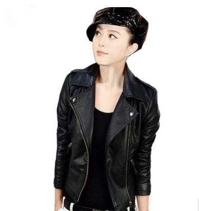 2019 Women Spring Autumn Pu   Leather   Short Jacket Large Size Female Turn Down Collar   Leather   Coat Motorcycle   Leather   Jacket k1013