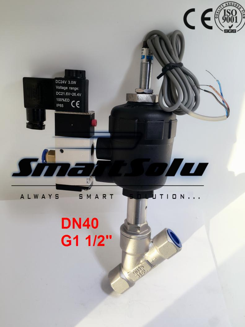 Free shipping DN40 pneumatic angle valve mounted with approach switch and solenoid valve G1 1/2 smc type pneumatic solenoid valve sy5120 3lzd 01