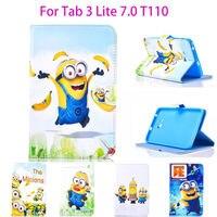 Планшеты чехол для Samsung Galaxy Tab 3 Lite 7.0 T110 T111 T115 T116 покрытия мультсериала «Гадкий я: Миньоны» подставка кожа принципиально