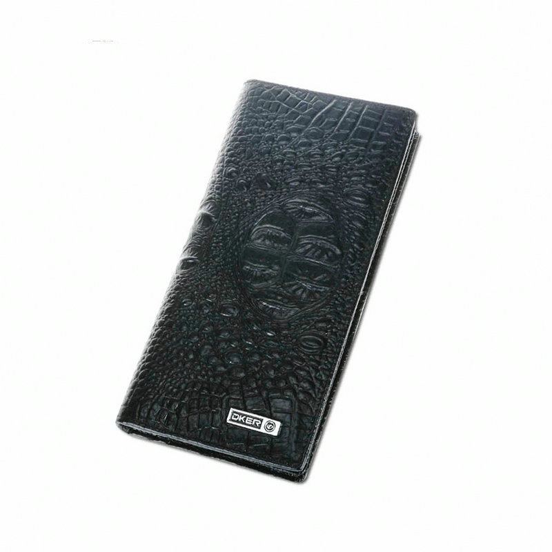 DKER Crocodile Grain Men's Wallets Black Wallet for Man Genuine Leather Male Purse Long Wallets for Men Clutch Purses