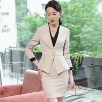 IZICFLY New Spring Office Clothes For Ladies Uniform Business Blazer Work Suit Styles Formal Women Skirt Suits And Jacket beige