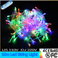 1 unids 10 M impermeable cadena de luz Led de color RGB 100led AC110V 220 V Lámpara luz de La Decoración para la Fiesta de Navidad boda
