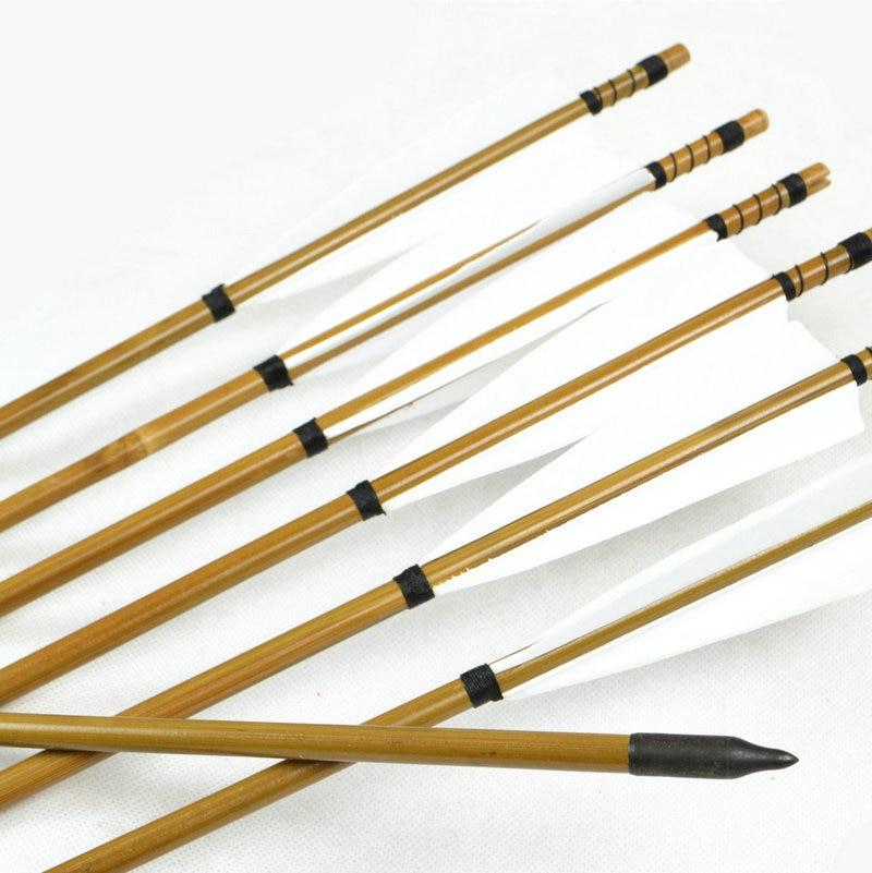 Стріли ручної роботи з бамбука 12x Туреччина перо для 20-50 фунтів Longbow Recurve лук полювання стрільба з лука на 80 см довжини з високою якістю