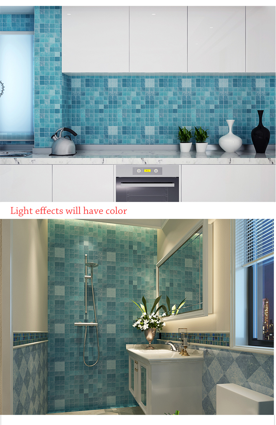 5M PVC Wall Sticker Bathroom Waterproof Self adhesive Wallpaper ...