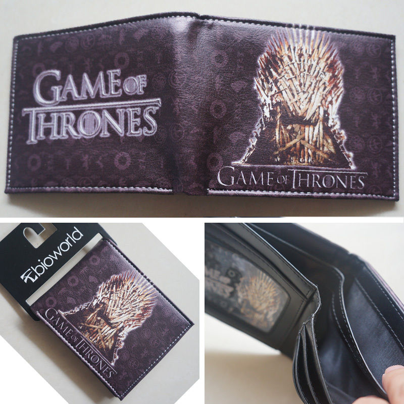2018 New HBO Game of Thrones Iron Throne Logo Gold wallets Purse Leather Hot W072 2018 epic game gears of war logo wallets purse red leather man women new w135