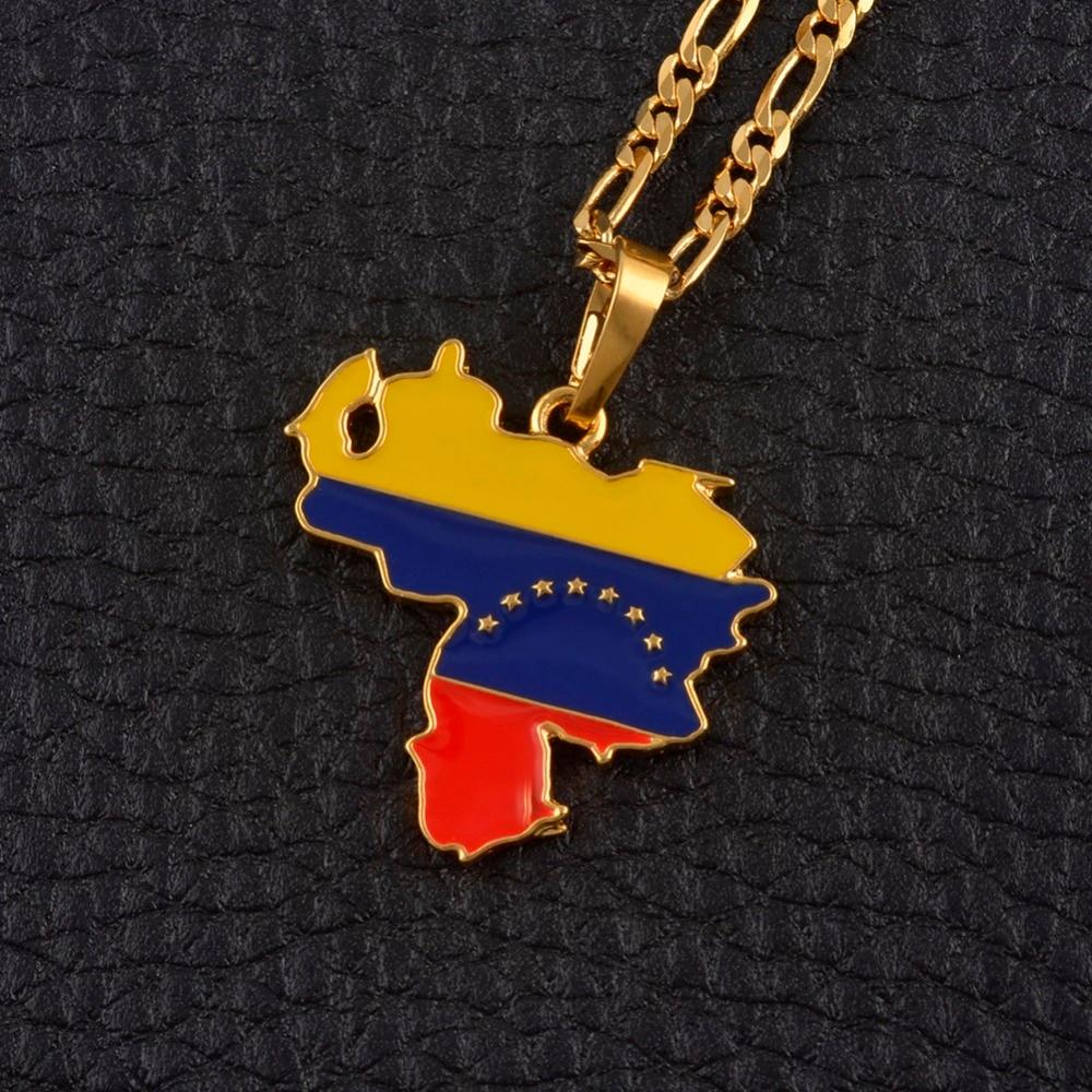 53f4475b15 Anniyo Venezuela mapa y bandera colgante de collar para las mujeres hombres  de oro de joyería de Color venezolano los artículos  116206 en Collares ...