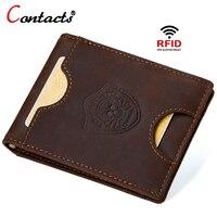 CONTACT'S Genuine Leather Wallet Men's Money Clips Clutch Male Business Men's Wallets Clutch Bag 2018