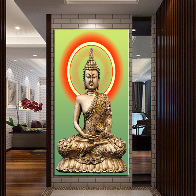 New HD Print Golden Buddha Painting Picture Living Room Wall Decor Modern  Decoration Painting On Canvas