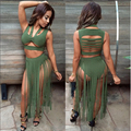 2016 Women Spring Bandage Bodycon Dresses Sexy New Fashion 2 pieces Party Dresses Hollow Out Clubwear Vestidos Tessel Dresses