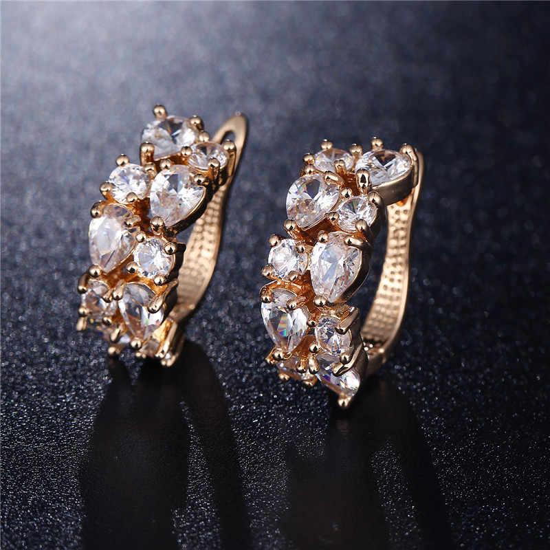 CARSINEL Marke Hohe Qualität Gold-farbe Blume Schmuck Sets mit Klaren Stein CZ Stein für Frauen Hochzeit Halskette + ohrringe + Ringe