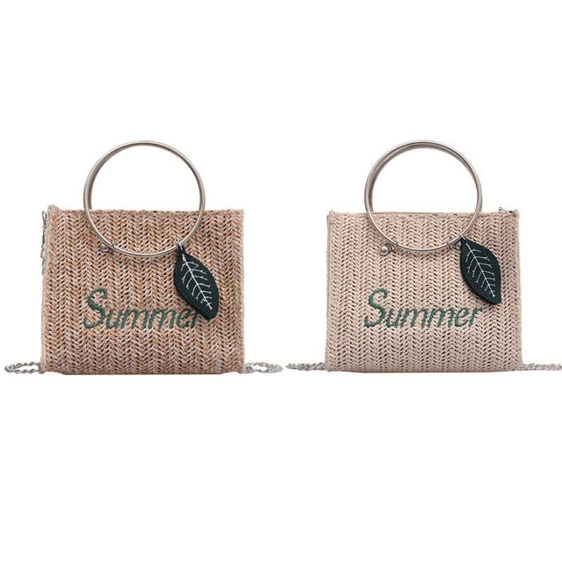 Hot 2019 Hoop Portable Leaf Straw Bag Korean Version Of The Ocean Fashion Shopping Bags Small Square Bag
