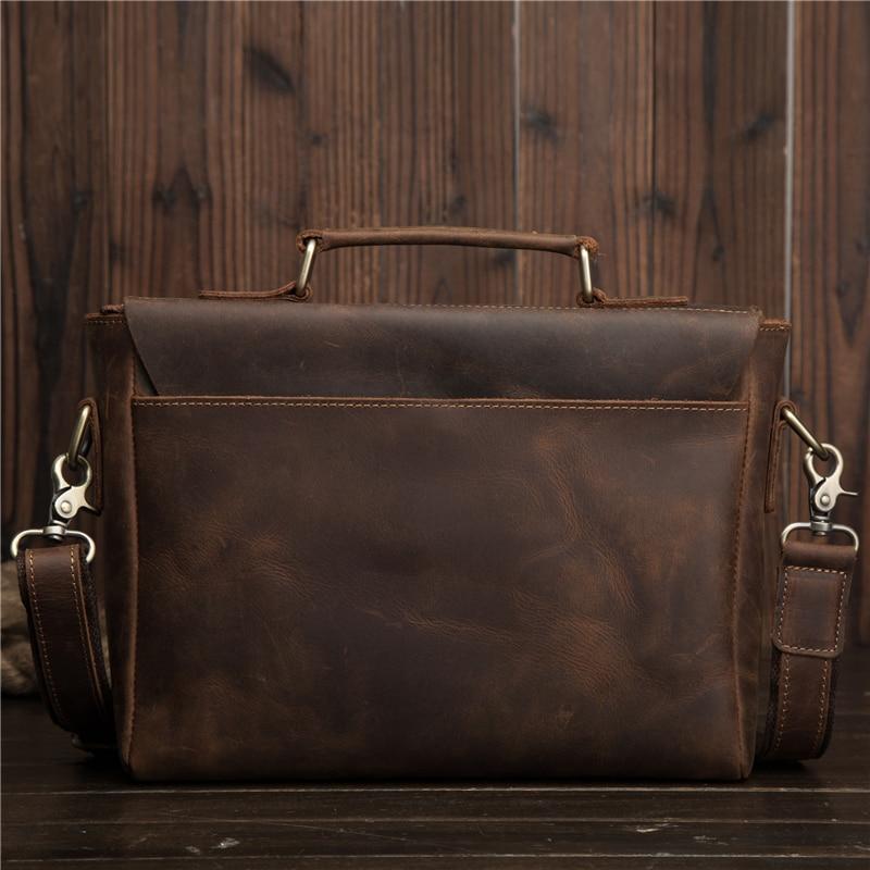 Мужские портфели из натуральной кожи Crazy Horse, сумка через плечо, Ретро стиль, мужская сумка, деловая, дорожная, подарок, Blosa Mochil - 4