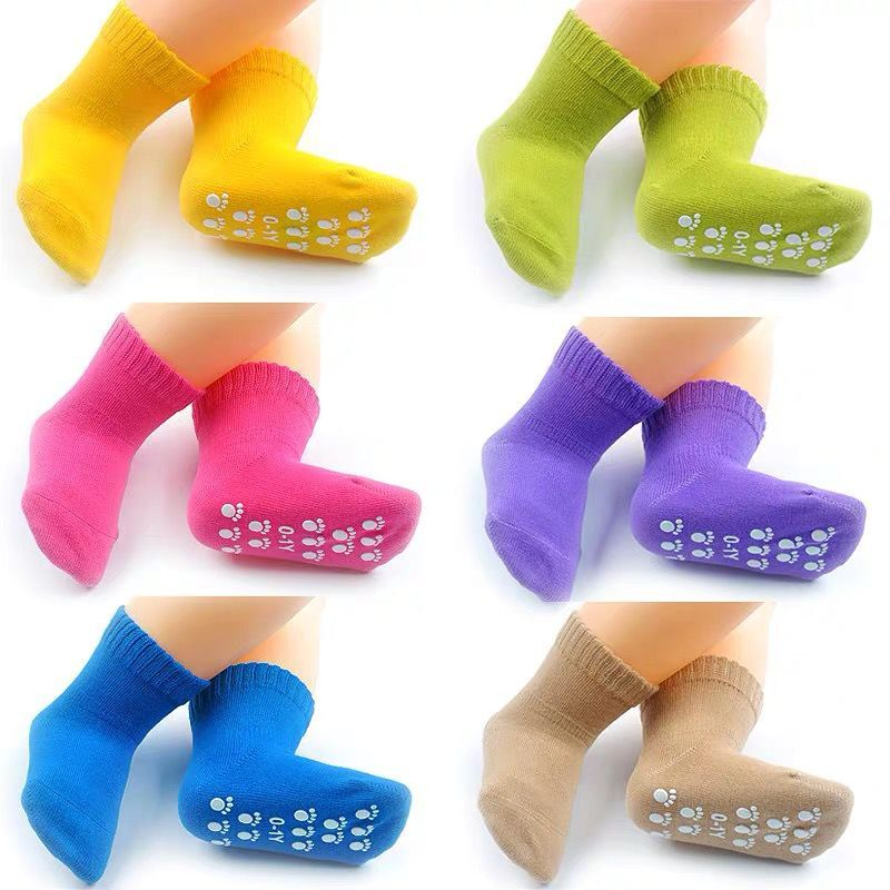 Candy Color Cotton Baby Socks Anti Slip Rubber Sole Socks Autumn Spring Girls Boys Kids Warm Floor Socks for 0-5 years old 1