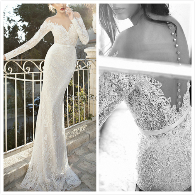 Designer Vestido De Noiva 2017 Y Illusion Off Shoulder Mermaid Wedding Dresses High Quality French Lace Bridal Gown Custom In From