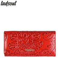 LADSOUL Fashion Women Wallet Cow Leather Long Design Women Purses Famous Brand Credit Card Holder Letter
