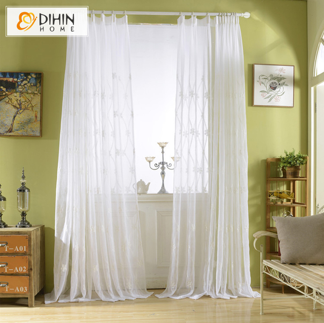 Dihin Home New White Translucidus Tulle Custom Made Sheer Curtains Window Treatment For Living Room Curtain