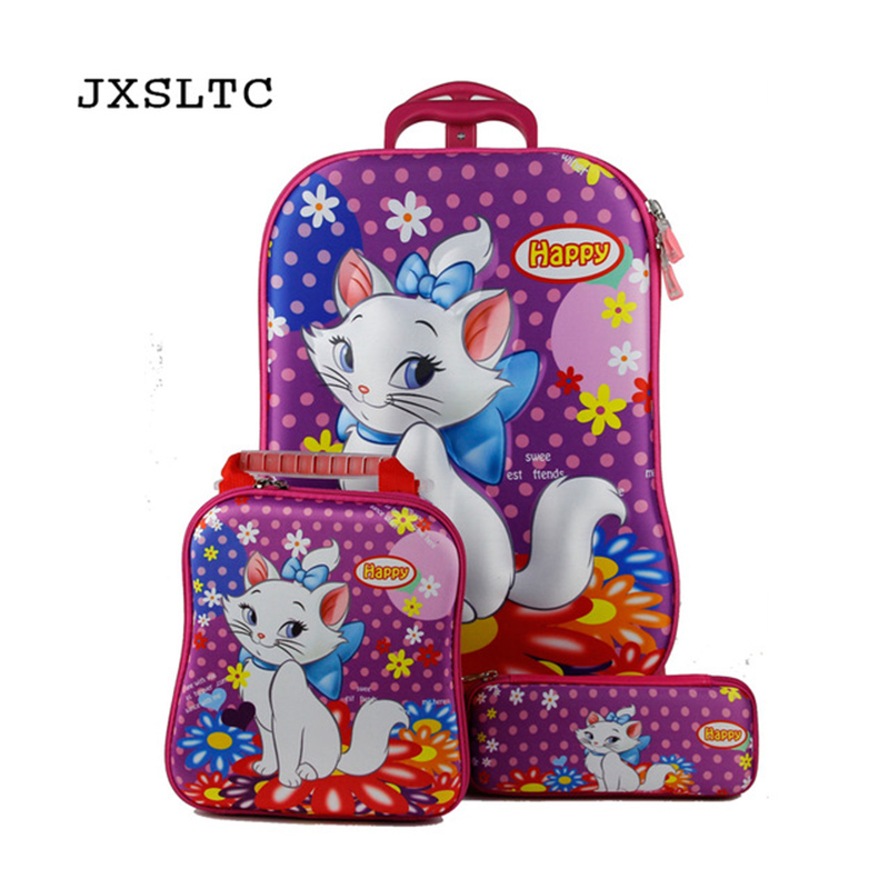 JXSLTC Kids Rolling School Bags girls Boys Trolley Case Children Travel Suitcase School  ...