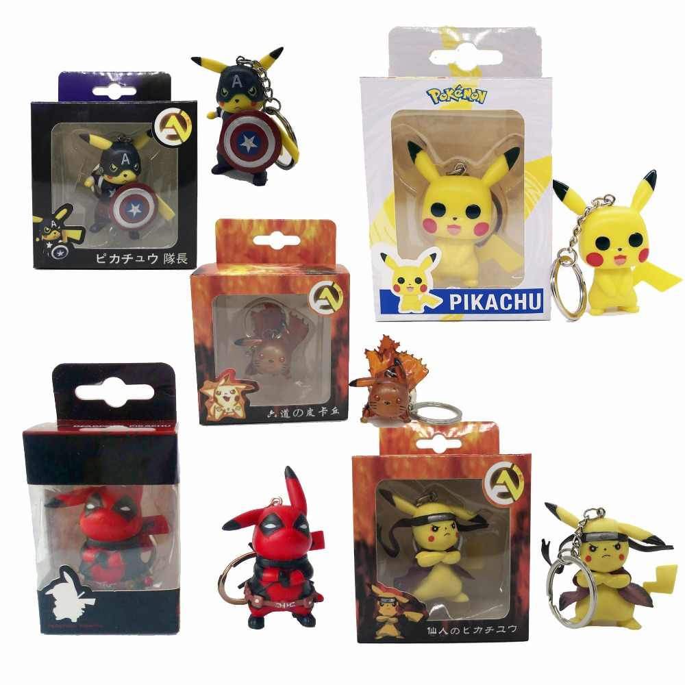 Action Pikachu Model Keychain Toys Pocket Monster cosplay Naruto America Captain Deadpool Cute Pendant Kids Gift Pikachu
