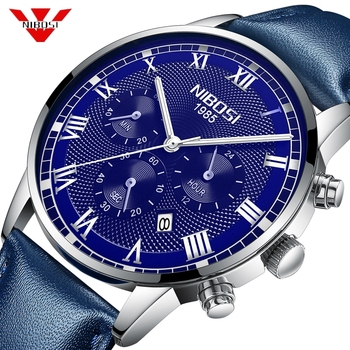 NIBOSI Business Blue Watch Men Waterproof Calendar Analogue Quartz Watches Men Genuine Leather Watch For Men Relogio Masculino