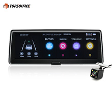 TOPSOURCE Car DVR Dual Lens Camera Registrator Full HD 1080P IPS Touch screen Recorder Dash Cam Registratory Camcorder