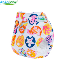 Ananbaby Reusable One Size Fits All Baby Nappy Machine Prints Pocket Cloth Diaper For Girls cheap 3-15 kg 7-9 months 10-12 months 2 years Up 13-18 months 19-24 months 0-3 months 4-6 months Unisex Others Nappies 1pcs Breathable Waterproof PUL