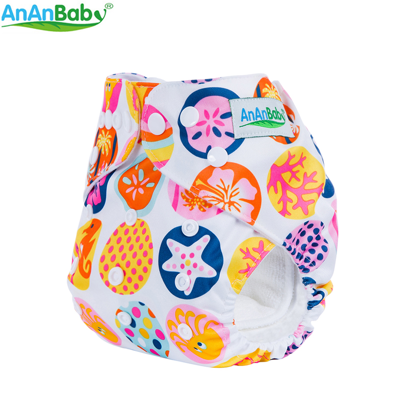 Ananbaby Reusable One Size Fits All Baby Nappy Machine Prints Pocket Cloth Diaper For Girls