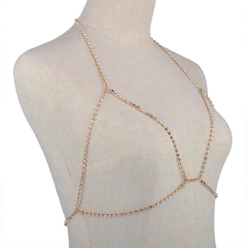 Sexy Rhinestone Áo Ngực Chuỗi Bãi Biển Cơ Thể Đồ Trang Sức Sáng Bóng Pha Lê Drop Vận Chuyển Áo Ngực Ngực Khai Thác Chuỗi Cơ Thể Bikini Chuỗi Đồ Trang Sức