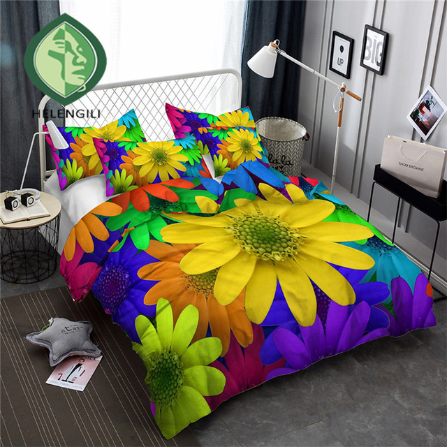 HELENGILI 3D Bedding Set colorful Flowers Print Duvet cover set bedclothes with pillowcase bed set home Textiles #XH-04