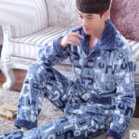 Winter Men Pajama Sets Homewear Thickening Warm Flannel Lounge Long Sleeve Coral Fleece Male Sleepwear Nightwear