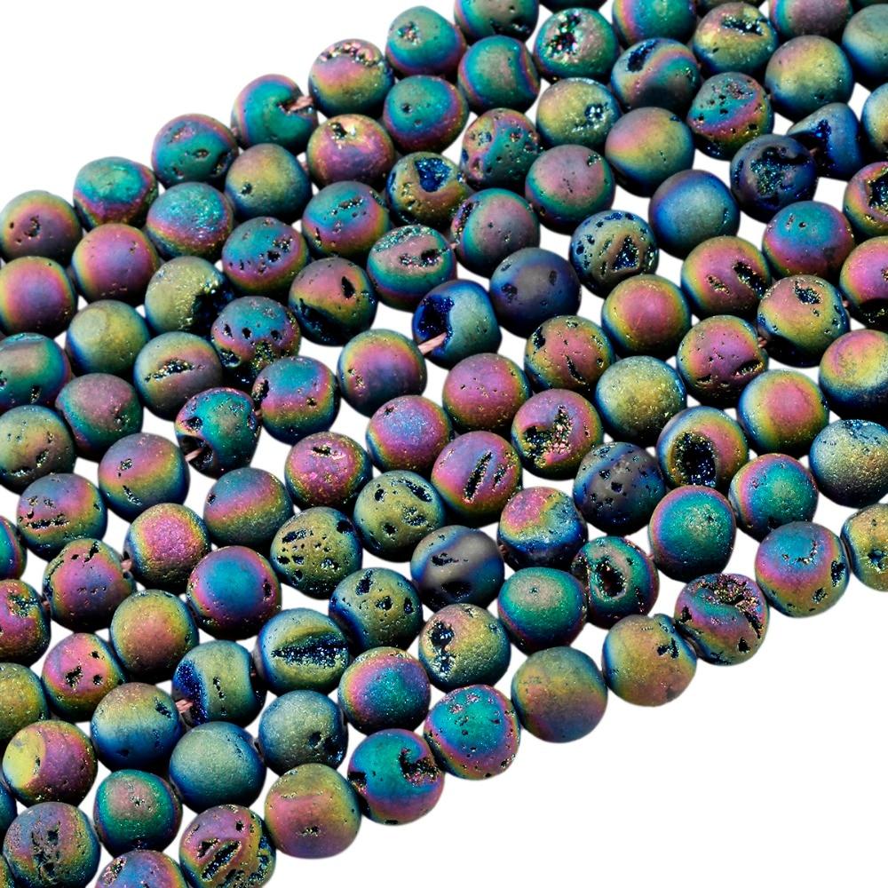"Rainbow Titanium crystal Agate Druzy Quartz Geode stone Loose Bead 15.5/"" HBTZ41"