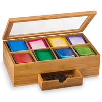 3 Compartments Storage Wooden Tea Box Container Jewelry Accessories Wood Tea Gift Store Box Vintage Multifunctional Container