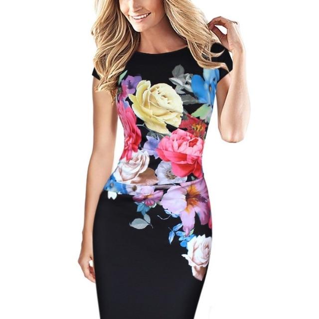 Mulheres Elegante Flor Floral Impresso Ruched da Luva do Tampão Plissado Mãe da Noiva vestido de Noite Vestido de Festa da dama de honra Casual Plus Size