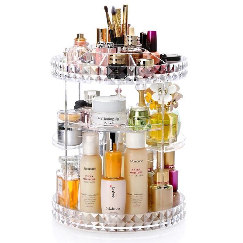 360 Degree Rotation Transparent Acrylic Cosmetics Storage Box Fashion Spin Multi-function Detachable Makeup Beauty Organizer