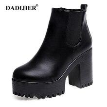DADIJIER Botas Mujer Fashion Women Boots Square Heel Platfor