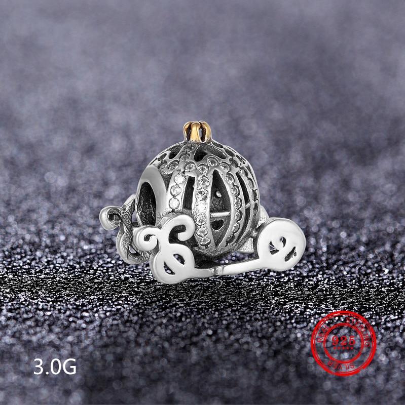 Charm 925 Sterling Silver Pumpkin Car Beads Suitable for Pandora Original Bracelet DIY Jewelry Accessories Wholesale