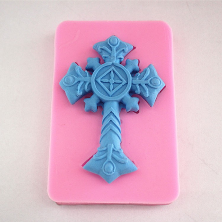 Luyou 3D Jesus On The Cross Fondantform Silikon Fondant Mold Cake Decorating Bakverktyg Kökstillbehör FM113
