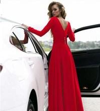 New Boho Women Maxi Dress Solid Red V Neck Long Sleeve Fashion Dresses Elegant Long Party Dress Women Dress Vestidos