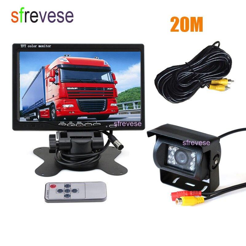 7 LCD Monitor Waterproof 18 IR Night Vision Car Rear View Kit Reversing Parking Backup Camera