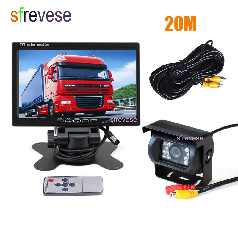7 LCD Monitor + Waterproof 18 IR Night Vision Car Rear View Kit Reversing Parking Backup Camera 20m Cable for Bus Truck Motorho 18 ir reverse camera new 7 lcd monitor car rear view kit car camera bus and truck parking sensor camera 15m or 20m cable