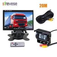 7 LCD Monitor + Waterproof 18 IR Night Vision Car Rear View Kit Reversing Parking Backup Camera 20m Cable for Bus Truck Motorho