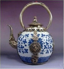 Pretty silver dragon Blue and White Porcelain teapot Garden Decoration 100% real Tibetan Silver Brass