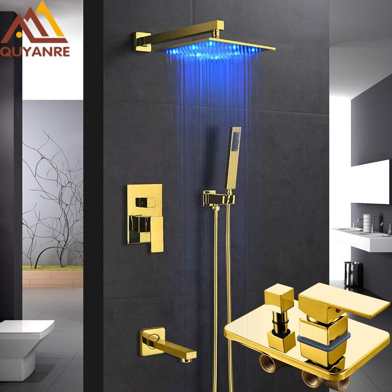 Quyanre LED Gold Shower Faucets 12