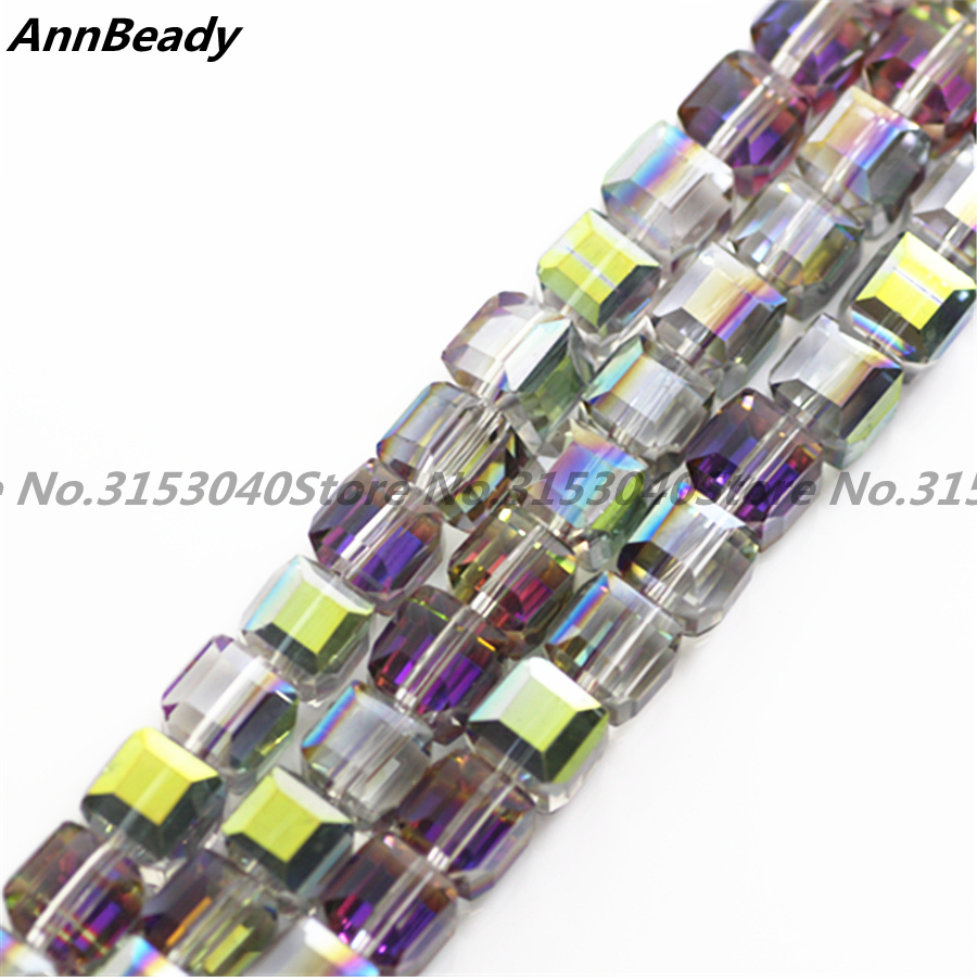 2MM//6MM//8MM Cristal Perle Facette Carré Cube Glass Loose Spacer Beads en vert