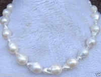 STUNNING 18 20mm AAA SOUTH SEA WHITE BAROQUE PEARL NECKLACE 18