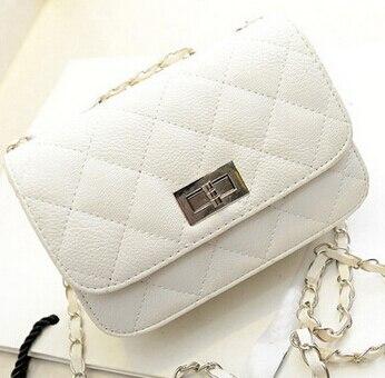 Fashion new handbags High quality PU leather Women bag Small incense wind chain Lozenge Shoulder bag Lock Stereotypes lattice(China)