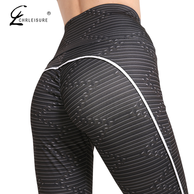 CHRLEISURE Sexy Push Up Leggings Women Stripe Digital Print Leggings Female Fitness Clothing Fashion Leggings Women Pants