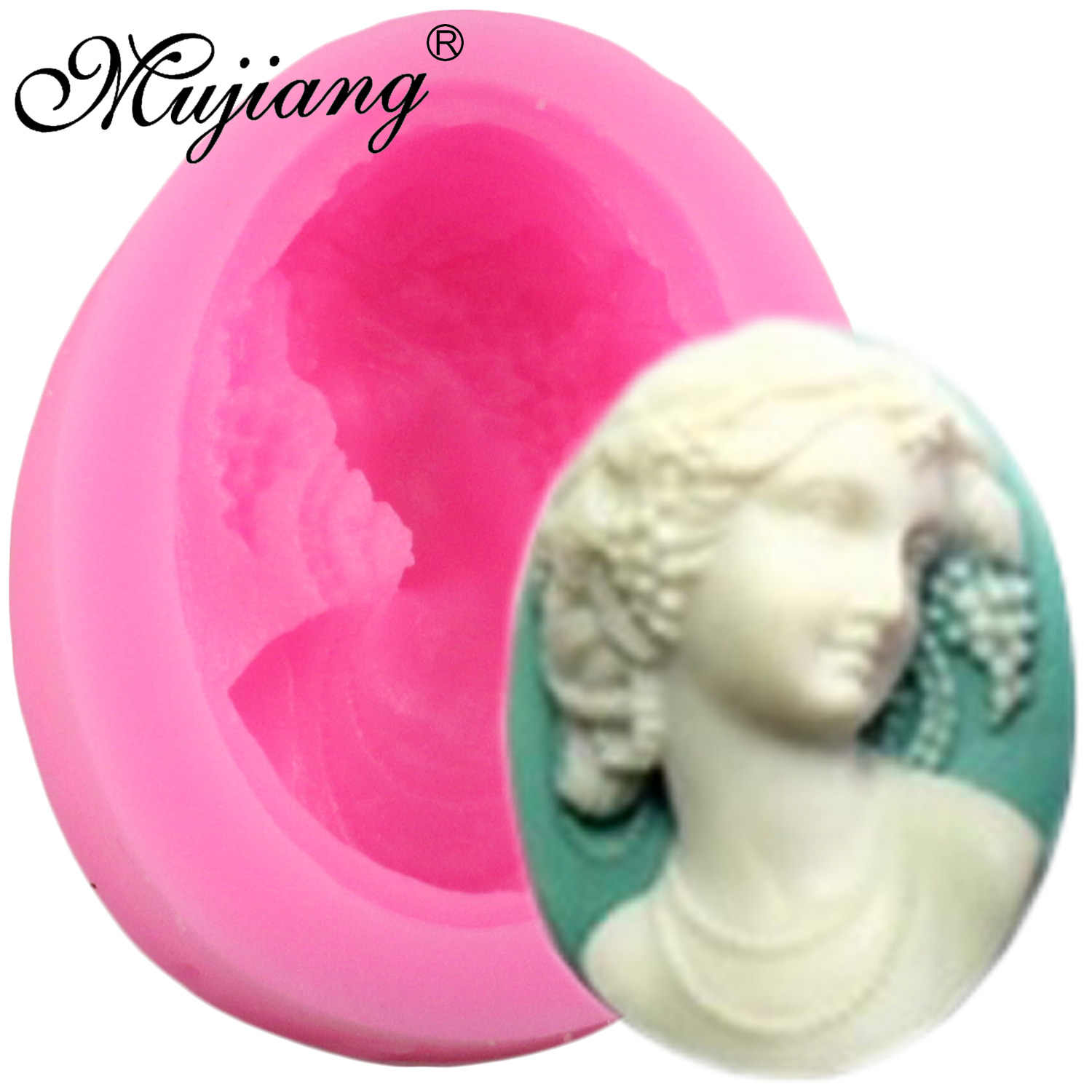 Mujiang Victorian Lady Silicone Soap Mold Jewelry Brooch Pendant Fondant Cake Decorating Tools Chocolate Candy Fimo Clay Moulds